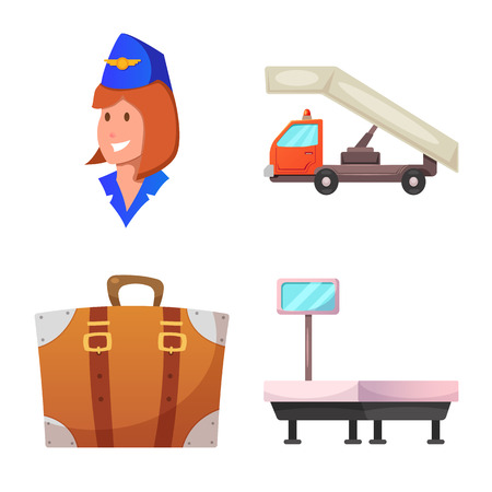 Vector design of airport and airplane icon. Set of airport and plane stock vector illustration. Иллюстрация