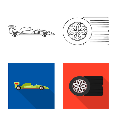 Isolated object of car and rally icon. Set of car and race vector icon for stock.
