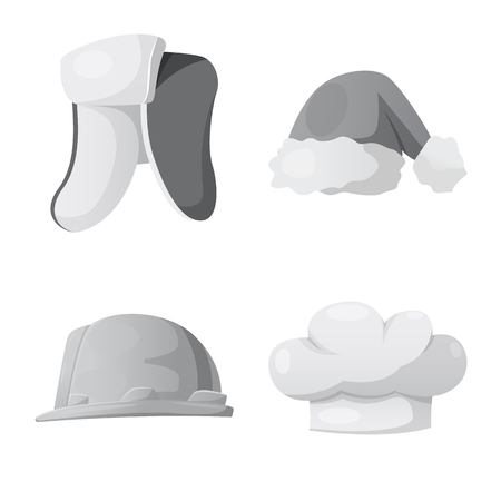 Vector illustration of headgear and cap logo. Collection of headgear and headwear vector icon for stock.