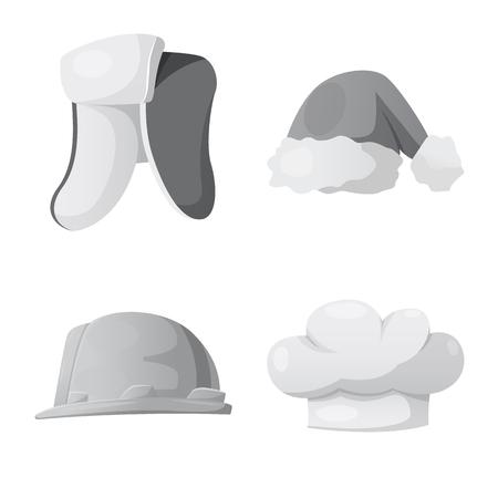 Vector illustration of headgear and cap logo. Collection of headgear and headwear vector icon for stock. Logo