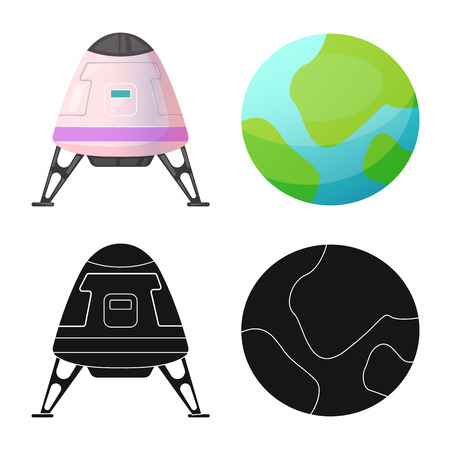 Isolated object of mars and space sign. Collection of mars and planet vector icon for stock. Иллюстрация