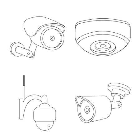Vector design of cctv and camera sign. Collection of cctv and system stock vector illustration.