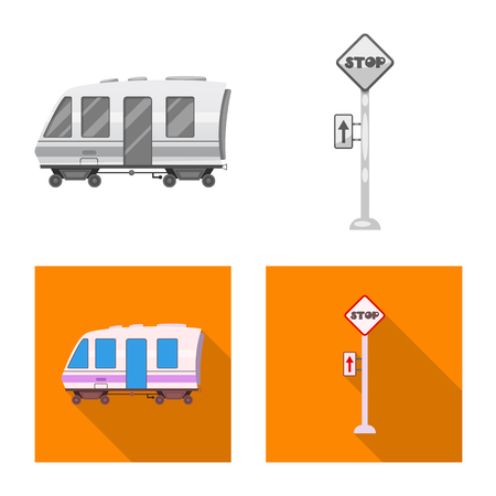 Vector illustration of train and station symbol. Set of train and ticket stock vector illustration.  イラスト・ベクター素材