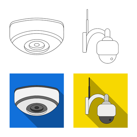 Vector design of cctv and camera sign. Set of cctv and system vector icon for stock. Illustration