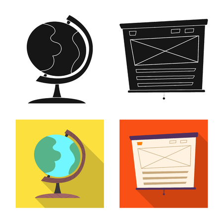 Vector design of education and learning icon. Collection of education and school stock vector illustration. Иллюстрация