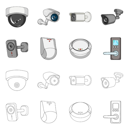 Vector design of cctv and camera sign. Collection of cctv and system stock symbol for web.
