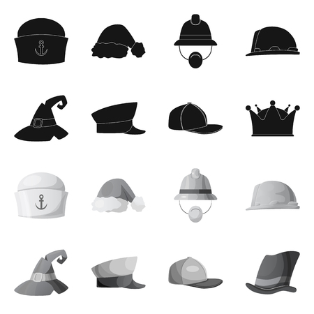 Vector illustration of headgear and cap icon. Set of headgear and headwear vector icon for stock.