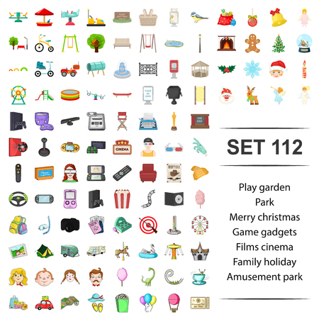 Vector illustration of play,garden,park,merry,christmas ,game gadgets film cinema family holiday amusement icon set.