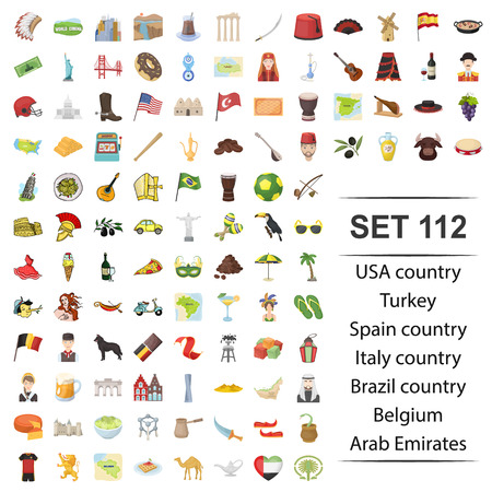 Vector illustration of USA, country, Turkey, Spain, Brazil Belgium Arab Emirates icon web set. 矢量图像
