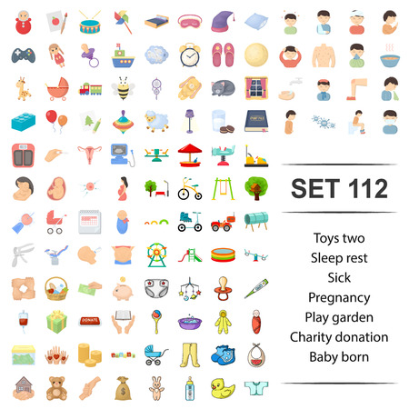 Vector illustration of toy, sleep, rest, sick, pregnancy playground charity donation baby born icon set.
