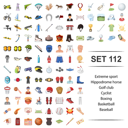 Vector illustration of extreme, sport,hippodrome, horse,golf club cyclist boxing basketball baseball icon set.