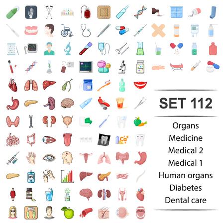 Vector illustration of medicine,medical,human,organ,diabetes dental care icon set.