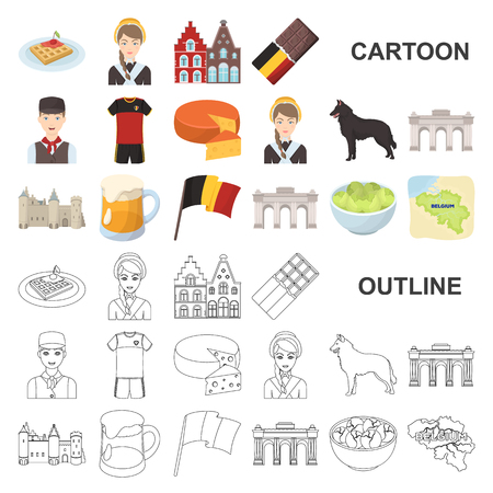 Country Belgium cartoon icons in set collection for design.Travel and attractions Belgium vector symbol stock web illustration.