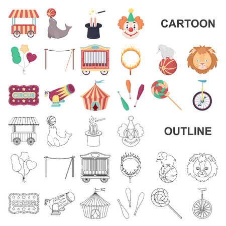 Circus and attributes cartoon icons in set collection for design. Circus Art vector symbol stock web illustration. Vetores