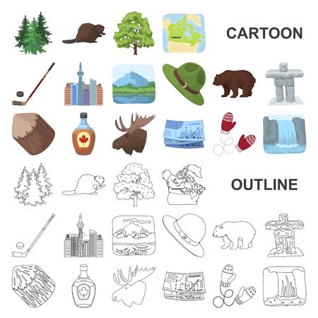 Icônes de dessin animé de pays Canada dans la collection de jeu pour la conception. Le Canada et l'illustration vectorielle stock symbole symbole web.