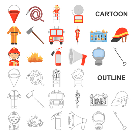 Fire Department cartoon icons in set collection for design. Firefighters and equipment vector symbol stock web illustration. Иллюстрация