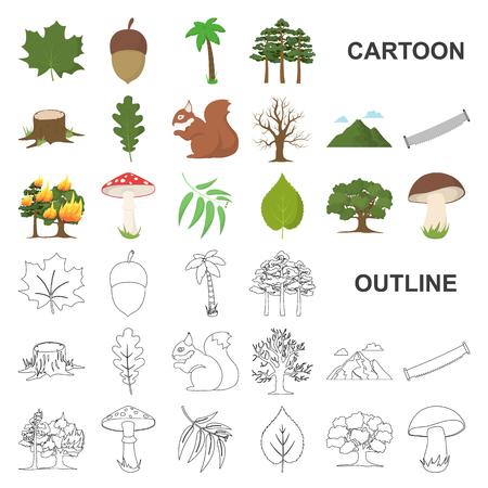 Icônes de dessin animé de forêt et nature dans la collection de jeu pour la conception. Illustration de stock de symbole de vecteur de vie de forêt.