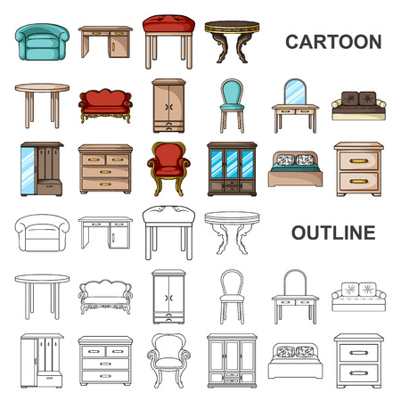 Furniture and interior cartoon icons in set collection for design.Home furniture vector symbol stock web illustration. Ilustração Vetorial