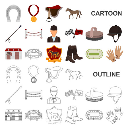 Hippodrome and horse cartoon icons in set collection for design. Horse Racing and Equipment vector symbol stock web illustration. Çizim