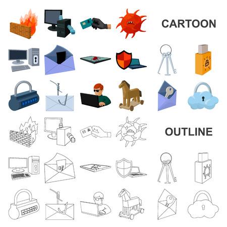 Hacker et piratage des icônes de dessin animé dans la collection de jeux pour la conception. Hacker et équipement symbole vecteur illustration de stock.
