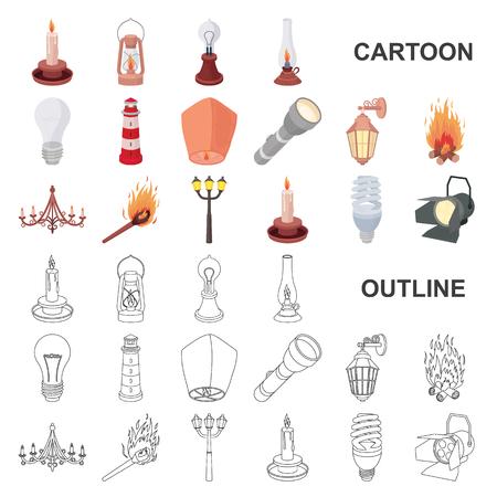Lichtquellenkarikaturikonen in der Satzsammlung für Design. Licht und Ausrüstung vector Symbolvorrat-Netzillustration.