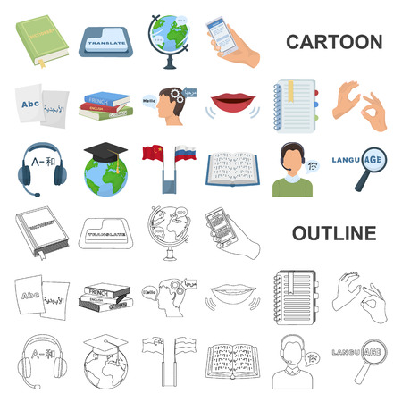 Translator and linguist cartoon icons in set collection for design. Interpreter vector symbol stock web illustration. Illustration