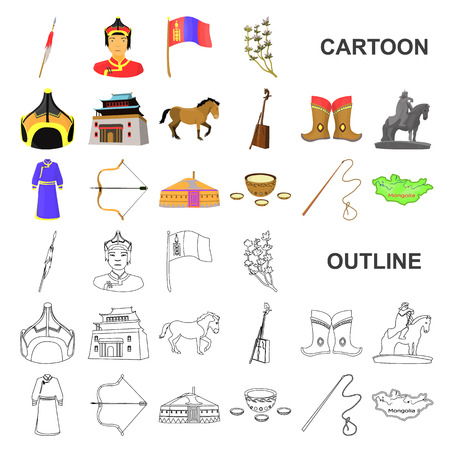 Country Mongolia cartoon icons in set collection for design.Territory and landmark vector symbol stock web illustration.