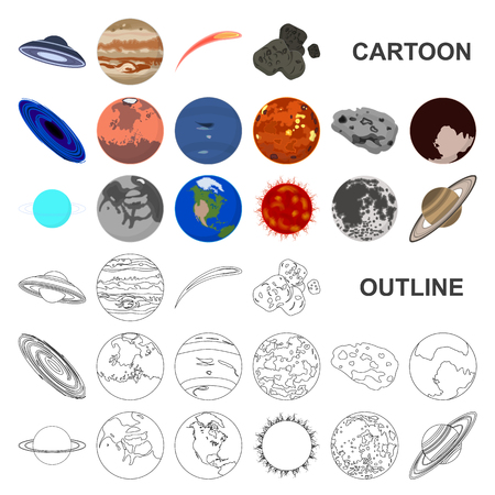 Planets of the solar system cartoon icons in set collection for design. Cosmos and astronomy vector symbol stock web illustration. Vectores