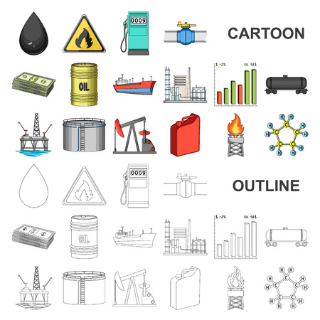 Ölindustrie-Karikaturikonen in der Satzsammlung für Design. Ausrüstungs- und Ölproduktionsvektorsymbolvorrat-Netzabbildung.