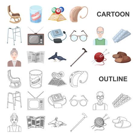 Human old age cartoon icons in set collection for design. Pensioner, period of life vector symbol stock web illustration. Ilustracja