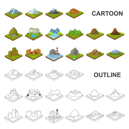 Mountains, massive cartoon icons in set collection for design. The surface of the earth vector isometric symbol stock web illustration.
