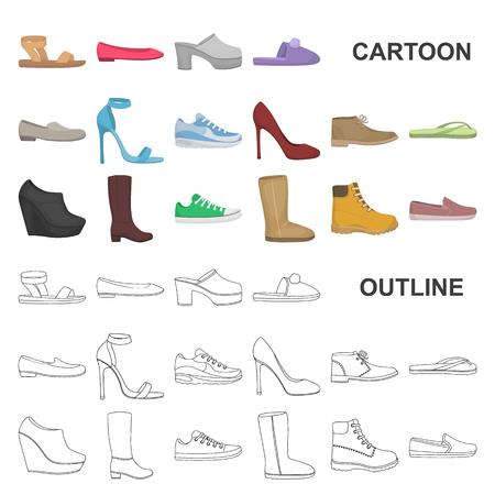 Eine Vielzahl von Schuhkarikaturikonen in der Satzsammlung für Design. Boot, Turnschuhe Vektor Symbol Lager Web-Illustration.