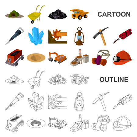 Mining industry cartoon icons in set collection for design. Equipment and tools vector symbol stock illustration.