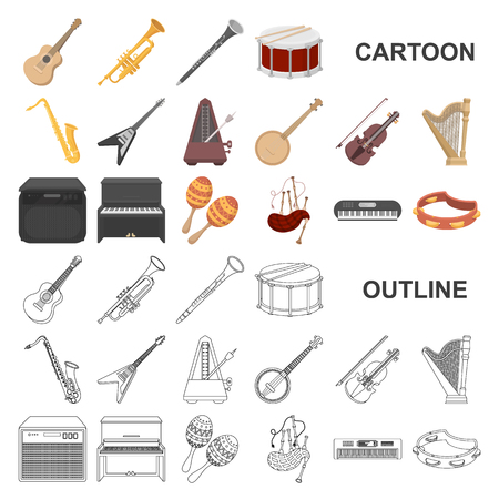 Musical instrument cartoon icons in set collection for design. String and Wind instrument vector symbol stock web illustration.