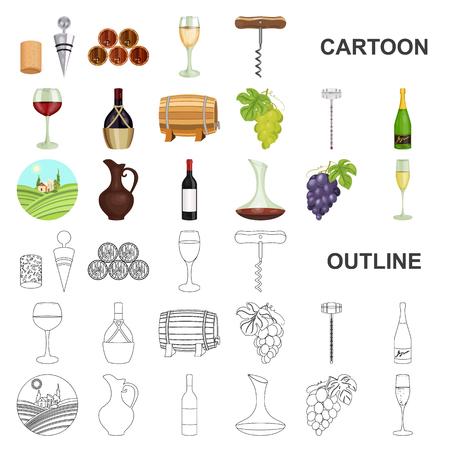 Icone del fumetto di prodotti vinicoli nella raccolta di set per il disegno. Attrezzature e produzione di vino simbolo d'archivio web illustrazione di vettore.
