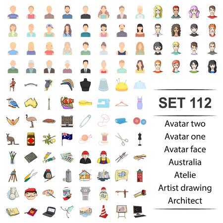 Vector illustration of avatar, face, australia, atelie, artist drawing architect icon set.