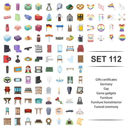 Vector illustration of gift, certificate, germany, gay, game,gadget furniture,home interior funeral ceremony icon set.
