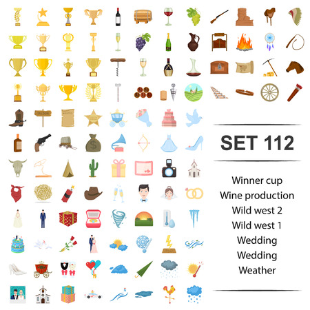Vector illustration of winner, cup, wine, production, wild west wedding weather icon web set.