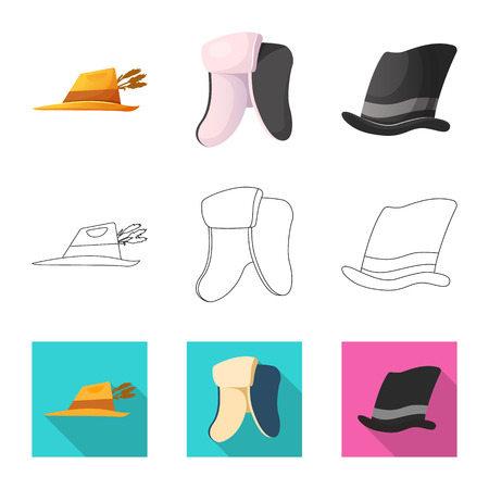 Vector illustration of headgear and cap icon. Collection of headgear and accessory vector icon for stock. Illustration