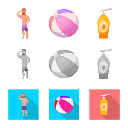 Isolated object of pool and swimming symbol. Set of pool and activity vector icon for stock.