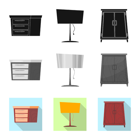 Vector illustration of furniture and apartment symbol. Set of furniture and home vector icon for stock.
