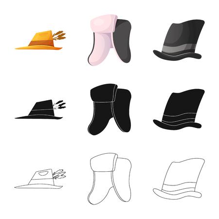 Wektor wzór symbolu nakrycia głowy i czapki. Zestaw nakrycia głowy i symbol zapasów akcesoriów dla sieci web. Ilustracje wektorowe