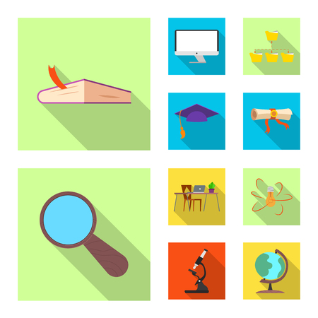 Isolated object of education and learning logo. Set of education and school vector icon for stock. Logó