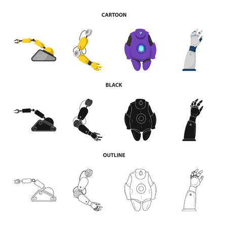 Vector design of robot and factory logo. Collection of robot and space stock vector illustration.