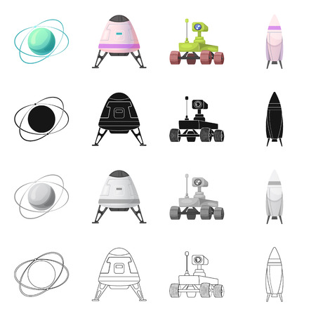 Vector design of mars and space symbol. Collection of mars and planet vector icon for stock.