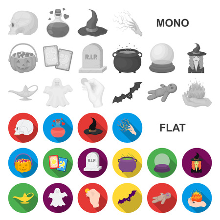 flat and white magic flat icons in set collection for design. Attributes and sorceress accessories vector symbol stock  illustration.