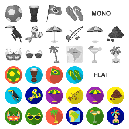 Country Brazil flat icons in set collection for design. Travel and attractions Brazil vector symbol stock  illustration.