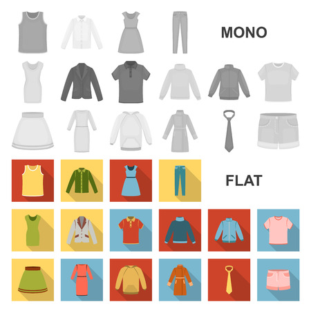 Different kinds of clothes flat icons in set collection for design. Clothes and style vector symbol stock  illustration. 矢量图像