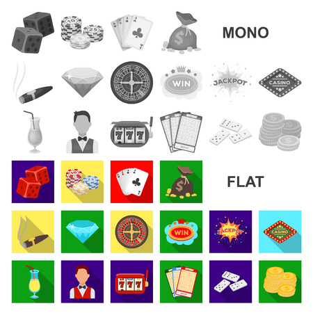 Casino and gambling flat icons in set collection for design. Casino and equipment vector symbol stock  illustration.