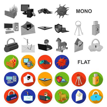 Hacker et piratage des icônes plates dans la collection de jeux pour la conception. Hacker et équipement symbole vecteur illustration de stock.